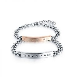 Roman Numbers Titanium Steel Couple's Bracelets