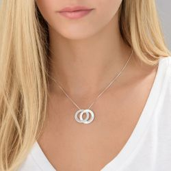Russian Ring Engraved Necklace With 2 Rings Sterling Silver