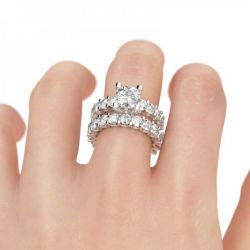Classic Round Cut Sterling Silver Ring Set