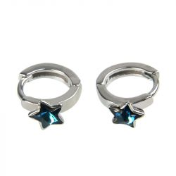 Star Shape Sterling Silver Hoop Earrings