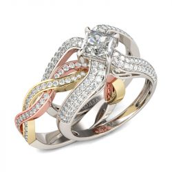 Tri-Tone Princess Cut Interchangeable Sterling Silver Ring Set