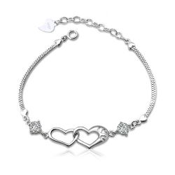 Romantic Linked Heart Sterling Silver Bracelet