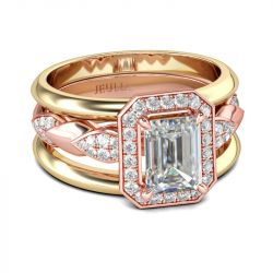 Two Tone Halo Emerald Cut Sterling Silver Ring Set