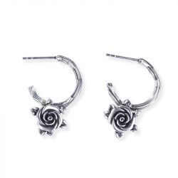 Jeulia Heart Leaves Rose Branch Earrings