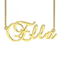 Gold Tone Brockscript Style Name Necklace