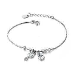 Jeulia Charming Heart Design Lock and Key Bracelet