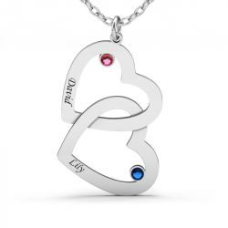 Double Heart Engraved Necklace with Birthstones Sterling Silver
