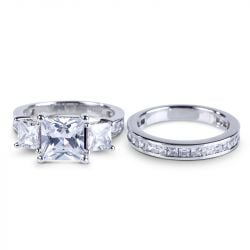 Three Stone Princess Cut Created White Spphire Ring Set
