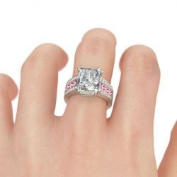 Big Center Stone Radiant Cut Sterling Silver Ring