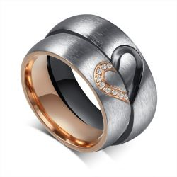 Heart Couple Rings Titanium Steel