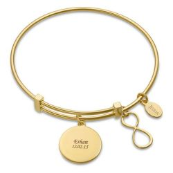 Infinity Charm Bangle Bracelet Sterling Silver