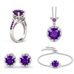 Amethyst Flower Round Cut Sterling Silver Jewelry Set