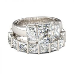 Three Stone Radiant Cut Sterling Silver Ring Set