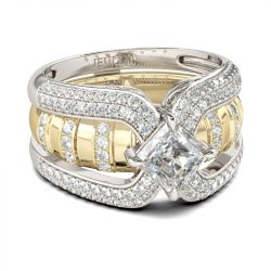 Interchangeable Two Tone Princess Cut Sterling Silver Ring Set