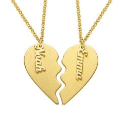 Gold Tone Engraved Couple Heart Necklace Sterling Silver