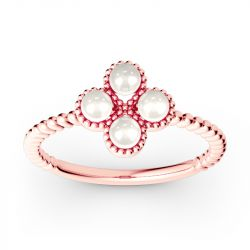Clover Cultured Pearl Sterling Silver Ring