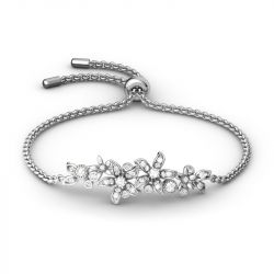 Cluster Flowers Sterling Silver Bolo Bracelet