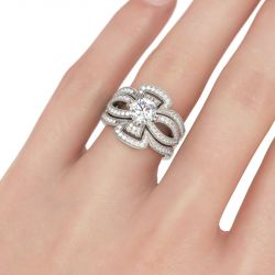 Milgrain Floral Round Cut Sterling Silver Ring Set