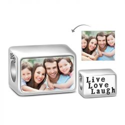 Live Love Laugh Photo Charm Sterling Silver