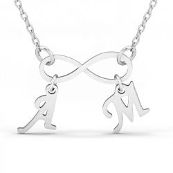 Two Initial Infinity Necklace Sterling Silver