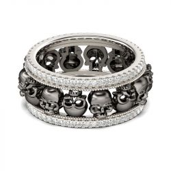 Two Tone Sterling Silver Skull Ring
