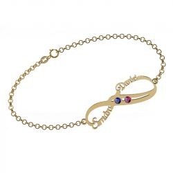 Double Name Infinity Bracelet with Birthstones Sterling Silver