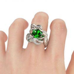 Jeulia  Green Cushion Cut Created Emerald Mermaid Ring