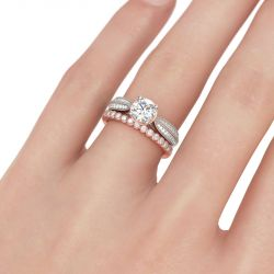 Two Tone Milgrain Round Cut Sterling Silver Ring Set