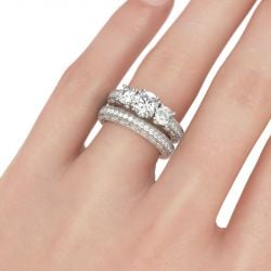 Three Stone Milgrain Round Cut Sterling Silver Ring Set