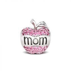 Apple Shape Mom Charm Sterling Silver