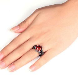 Cool Black Round Cut Sterling Silver Skull Ring