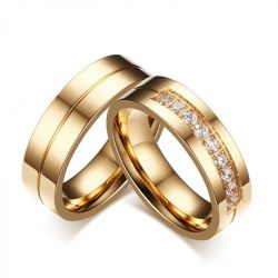 Gold Tone Couple Rings Titanium Steel