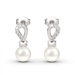 Knot Cultured Pearl Sterling Silver Earrings