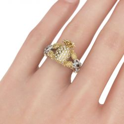 Two Tone Pineapple Intertwined Sterling Silver Ring