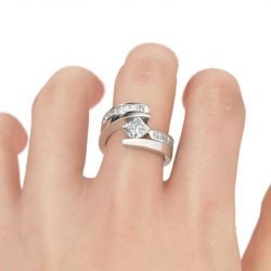 Bypass Princess Cut Sterling Silver Ring Set