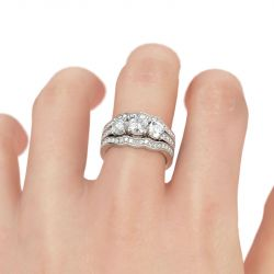 3PC Three Stone Round Cut Sterling Silver Ring Set
