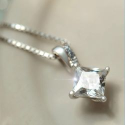 Square Sterling Silver Pendant Necklace