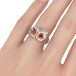 Two Tone Feather Design Round Cut Sterling Silver Owl Ring