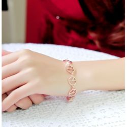 Rose Gold Tone Peace Sign Bracelet