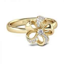 Gold Tone Flower Design Round Cut Sterling Silver Ring
