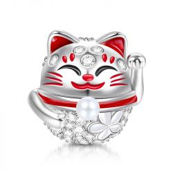 """Wish You Luck"" Lucky Cat Sterling Silver Charm"