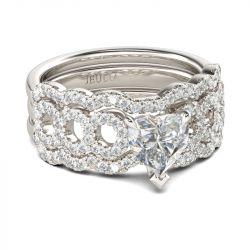 Loop Heart Cut Sterling Silver Ring Set