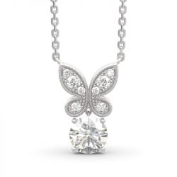 Butterfly Round Cut Sterling Silver Jewelry Set