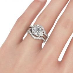 Emerald Cut Sterling Silver Three-Piece Ring Set