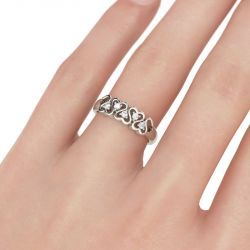 Linked Heart Sterling Silver Women's Band
