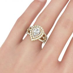 Gold Tone Double Halo Pear Cut Sterling Silver Ring