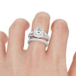 Scrollwork Halo Round Cut Sterling Silver Ring Set