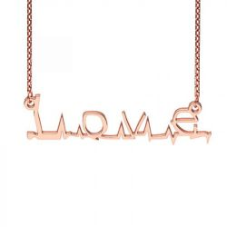 Rose Gold Tone Flatline Style Name Necklace