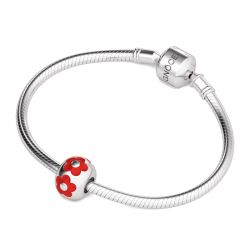 Red Flower Charm Sterling Silver