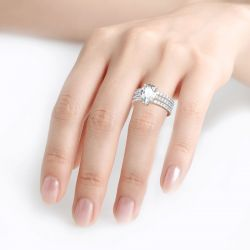 3PC Pear Cut Sterling Silver Eternity Ring Set